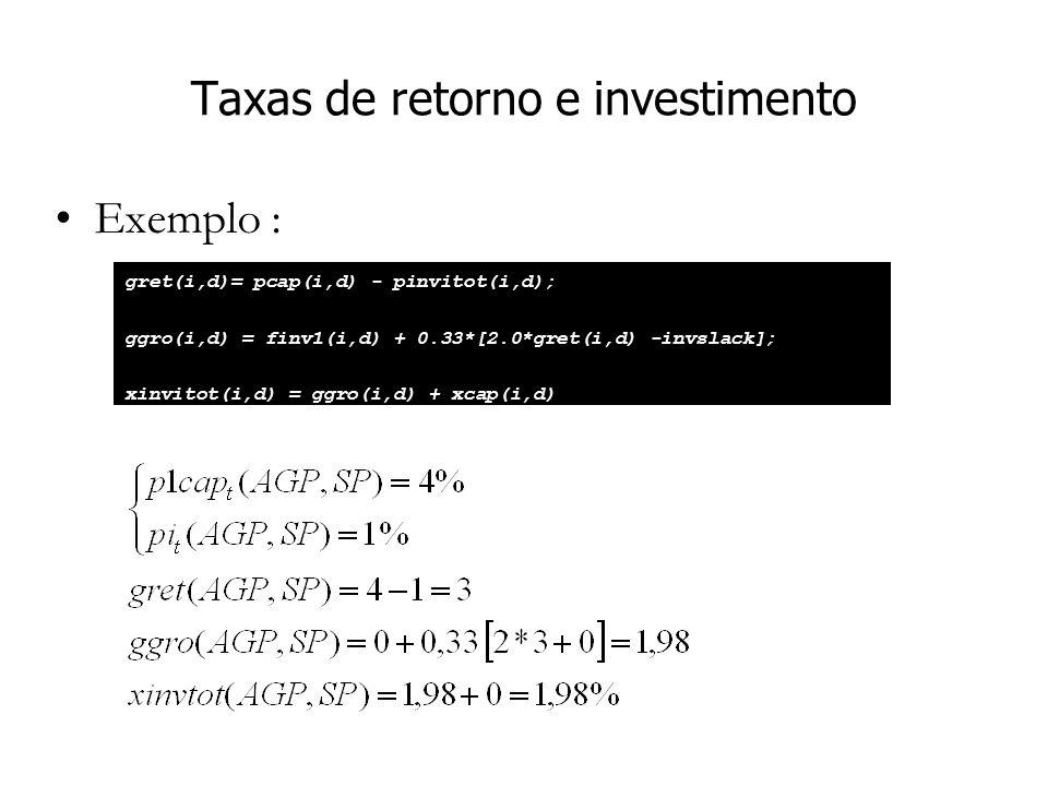 Taxas de retorno e investimento Exemplo : gret(i,d)= pcap(i,d) - pinvitot(i,d); ggro(i,d) = finv1(i,d) + 0.33*[2.0*gret(i,d) -invslack]; xinvitot(i,d) = ggro(i,d) + xcap(i,d)