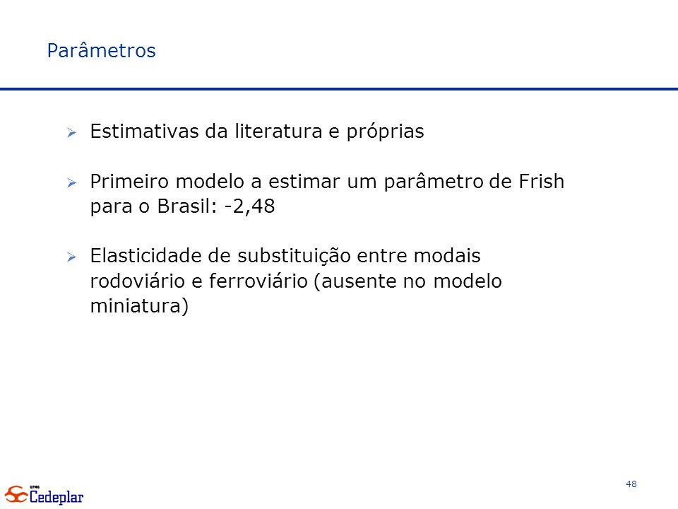 Parâmetros Estimativas da literatura e próprias Primeiro modelo a estimar um parâmetro de Frish para o Brasil: -2,48 Elasticidade de substituição entre modais rodoviário e ferroviário (ausente no modelo miniatura) 48