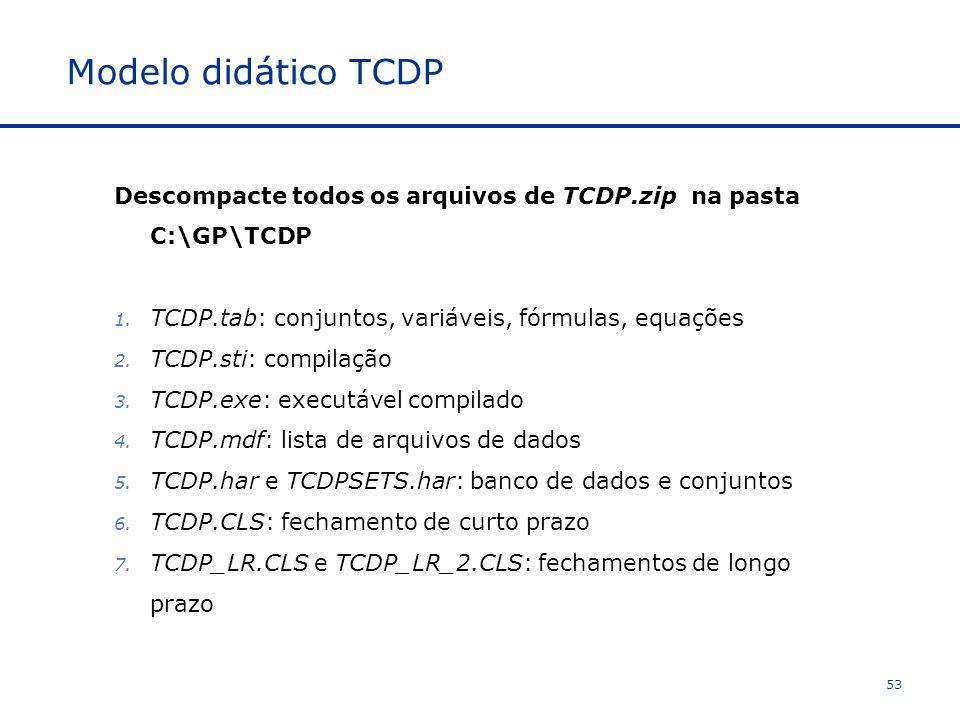 Modelo didático TCDP Descompacte todos os arquivos de TCDP.zip na pasta C:\GP\TCDP 1.
