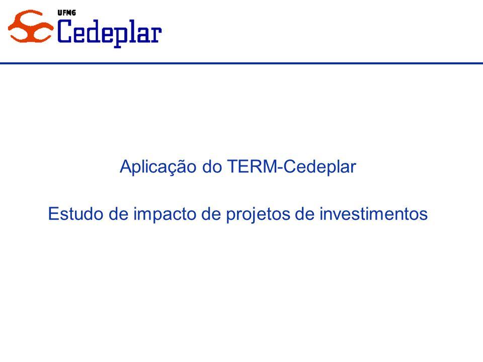 Aplicação do TERM-Cedeplar Estudo de impacto de projetos de investimentos
