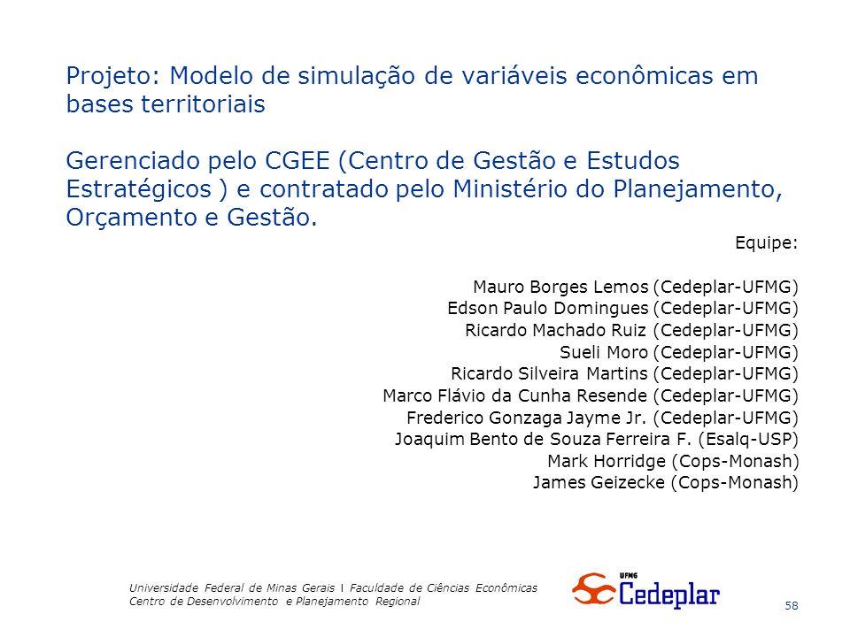 Equipe: Mauro Borges Lemos (Cedeplar-UFMG) Edson Paulo Domingues (Cedeplar-UFMG) Ricardo Machado Ruiz (Cedeplar-UFMG) Sueli Moro (Cedeplar-UFMG) Ricardo Silveira Martins (Cedeplar-UFMG) Marco Flávio da Cunha Resende (Cedeplar-UFMG) Frederico Gonzaga Jayme Jr.