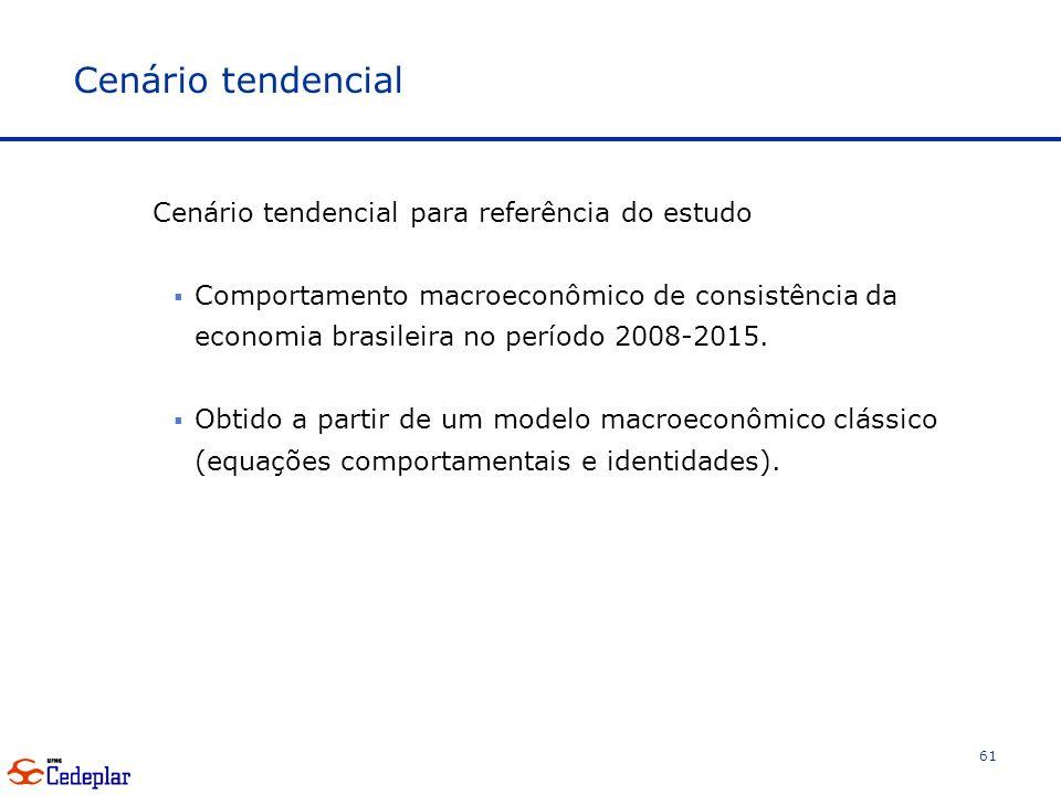 Cenário tendencial Cenário tendencial para referência do estudo Comportamento macroeconômico de consistência da economia brasileira no período 2008-2015.