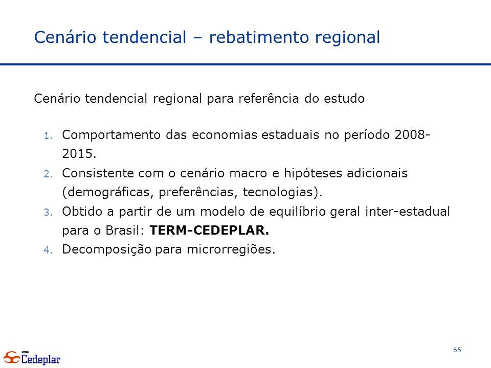 Cenário tendencial – rebatimento regional Cenário tendencial regional para referência do estudo 1.