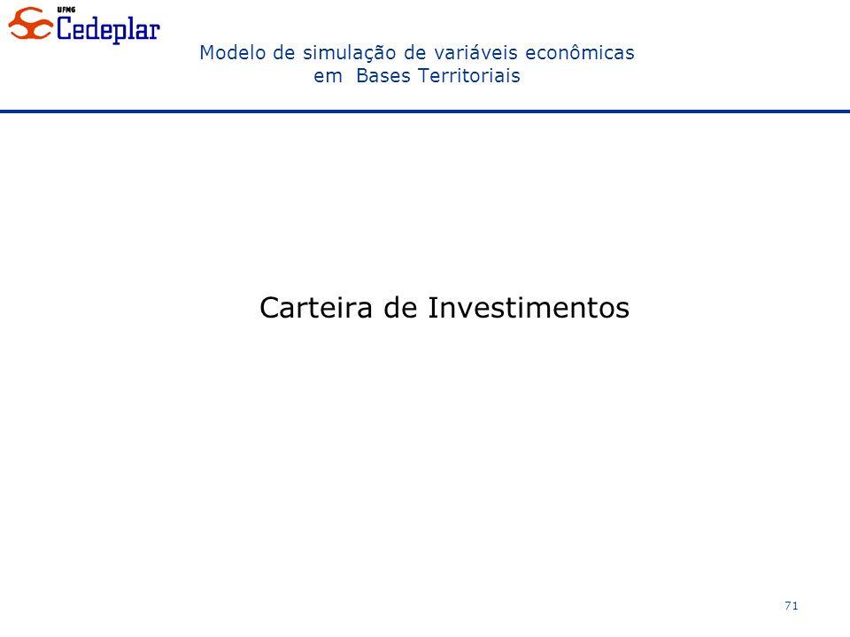 Modelo de simulação de variáveis econômicas em Bases Territoriais Carteira de Investimentos 71