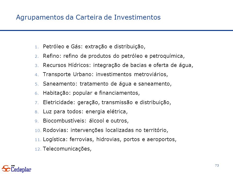 Agrupamentos da Carteira de Investimentos 1.Petróleo e Gás: extração e distribuição, 2.