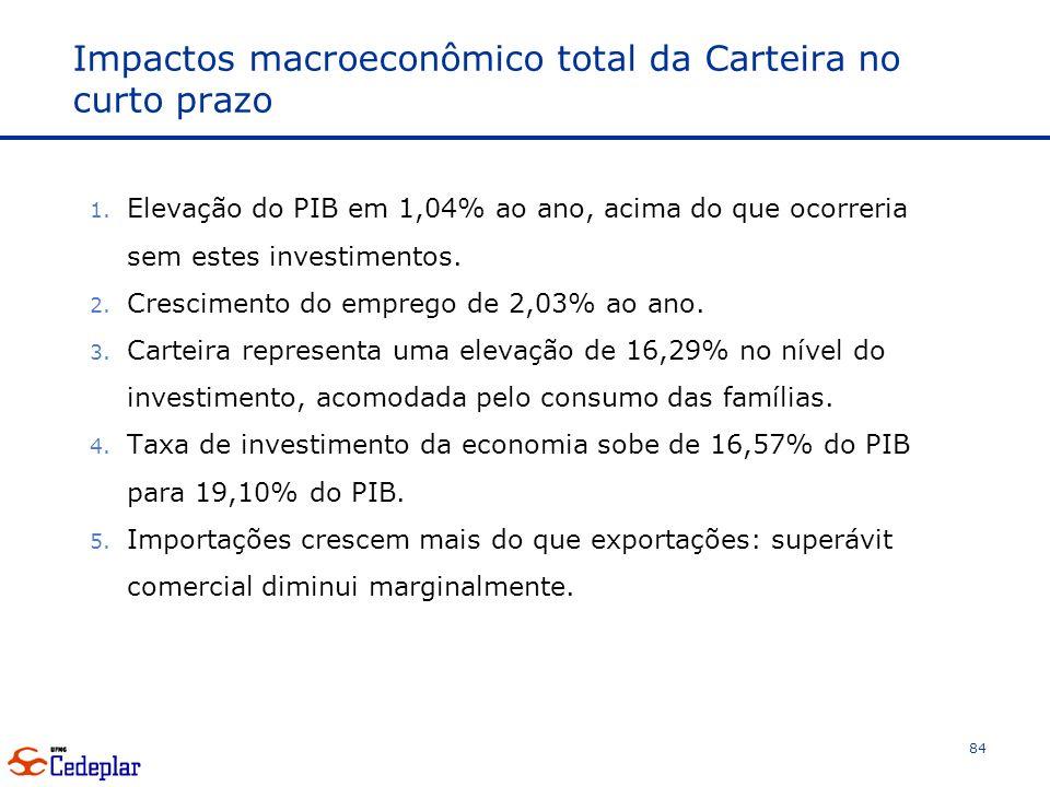 Impactos macroeconômico total da Carteira no curto prazo 1.