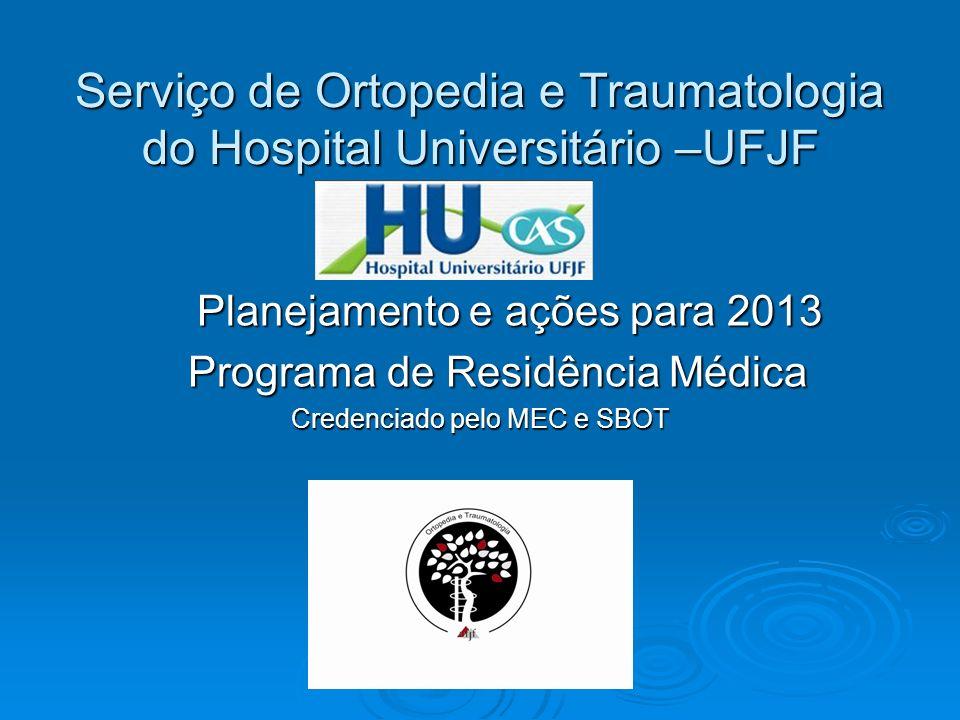 Serviço de Ortopedia e Traumatologia do Hospital Universitário –UFJF Planejamento e ações para 2013 Planejamento e ações para 2013 Programa de Residên