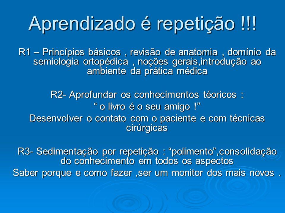 Aprendizado é repetição !!! R1 – Princípios básicos, revisão de anatomia, domínio da semiologia ortopédica, noções gerais,introdução ao ambiente da pr