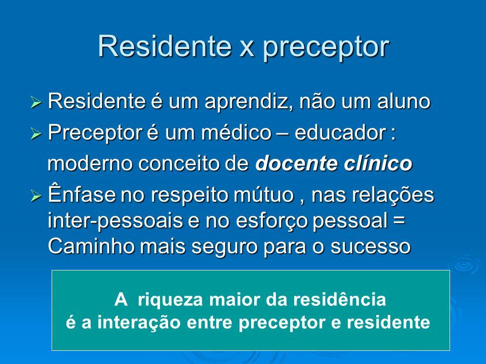 Residente x preceptor Residente é um aprendiz, não um aluno Residente é um aprendiz, não um aluno Preceptor é um médico – educador : Preceptor é um mé