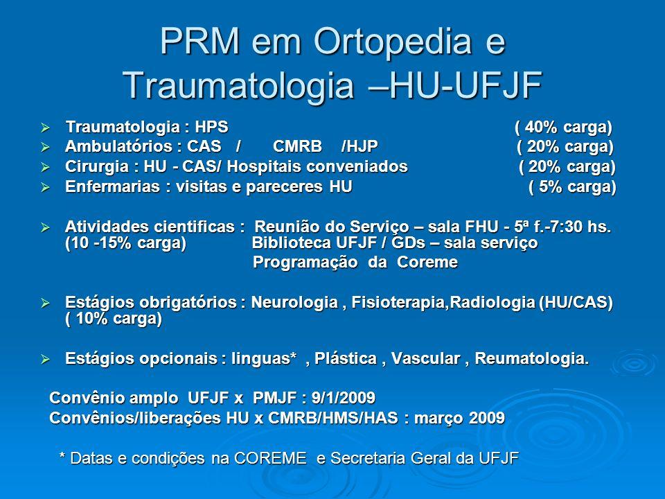 PRM em Ortopedia e Traumatologia –HU-UFJF Traumatologia : HPS ( 40% carga) Traumatologia : HPS ( 40% carga) Ambulatórios : CAS / CMRB /HJP ( 20% carga