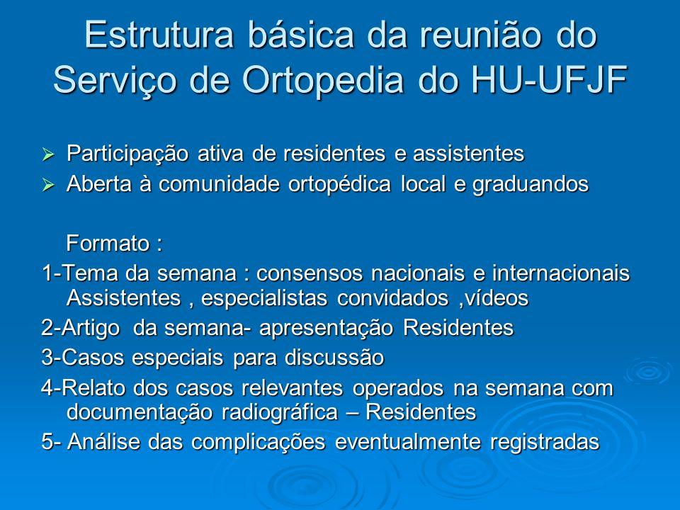 Estrutura básica da reunião do Serviço de Ortopedia do HU-UFJF Participação ativa de residentes e assistentes Participação ativa de residentes e assis