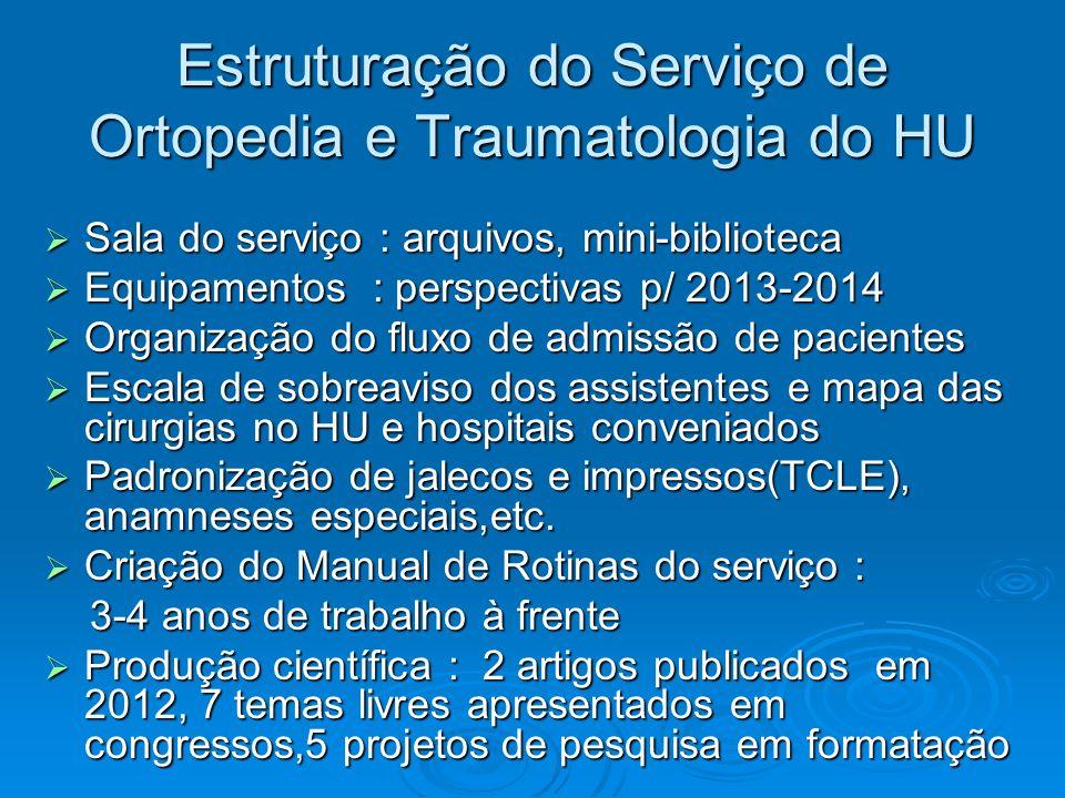 Estruturação do Serviço de Ortopedia e Traumatologia do HU Sala do serviço : arquivos, mini-biblioteca Sala do serviço : arquivos, mini-biblioteca Equ