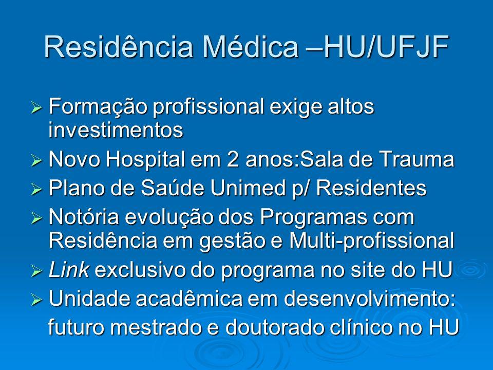 Residência Médica –HU/UFJF Formação profissional exige altos investimentos Formação profissional exige altos investimentos Novo Hospital em 2 anos:Sal