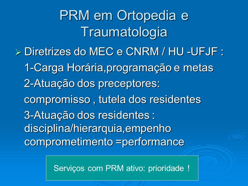 PRM em Ortopedia e Traumatologia Diretrizes do MEC e CNRM / HU -UFJF : Diretrizes do MEC e CNRM / HU -UFJF : 1-Carga Horária,programação e metas 1-Car