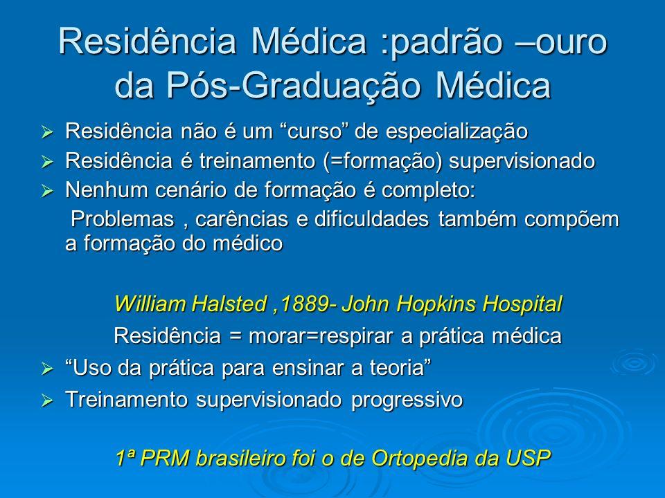 Residência Médica :padrão –ouro da Pós-Graduação Médica Residência não é um curso de especialização Residência não é um curso de especialização Residê