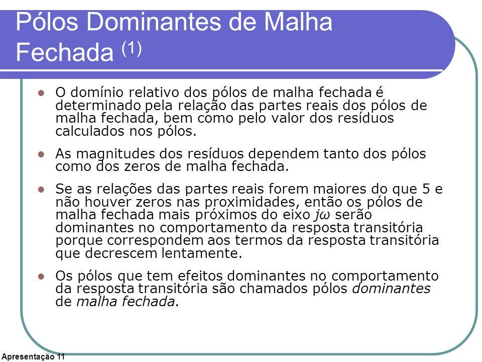 Apresentação 11 Pólos Dominantes de Malha Fechada (1) O domínio relativo dos pólos de malha fechada é determinado pela relação das partes reais dos pó