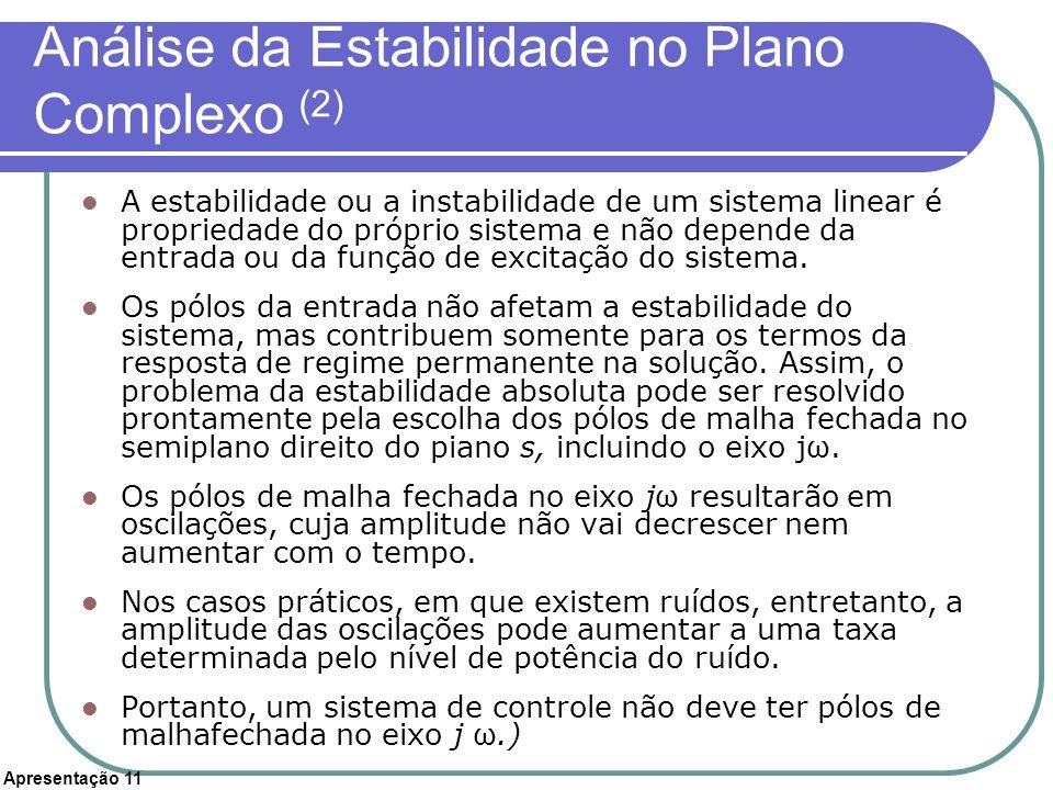 Apresentação 11 Análise da Estabilidade no Plano Complexo (2) A estabilidade ou a instabilidade de um sistema linear é propriedade do próprio sistema