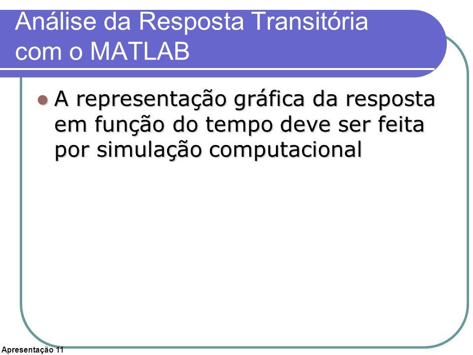 Apresentação 11 Análise da Resposta Transitória com o MATLAB A representação gráfica da resposta em função do tempo deve ser feita por simulação compu