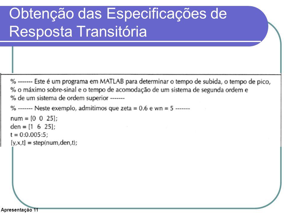Apresentação 11 Obtenção das Especificações de Resposta Transitória