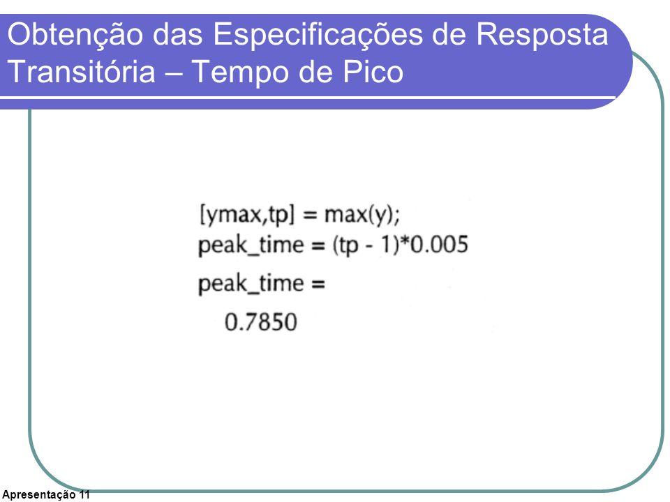 Apresentação 11 Obtenção das Especificações de Resposta Transitória – Tempo de Pico