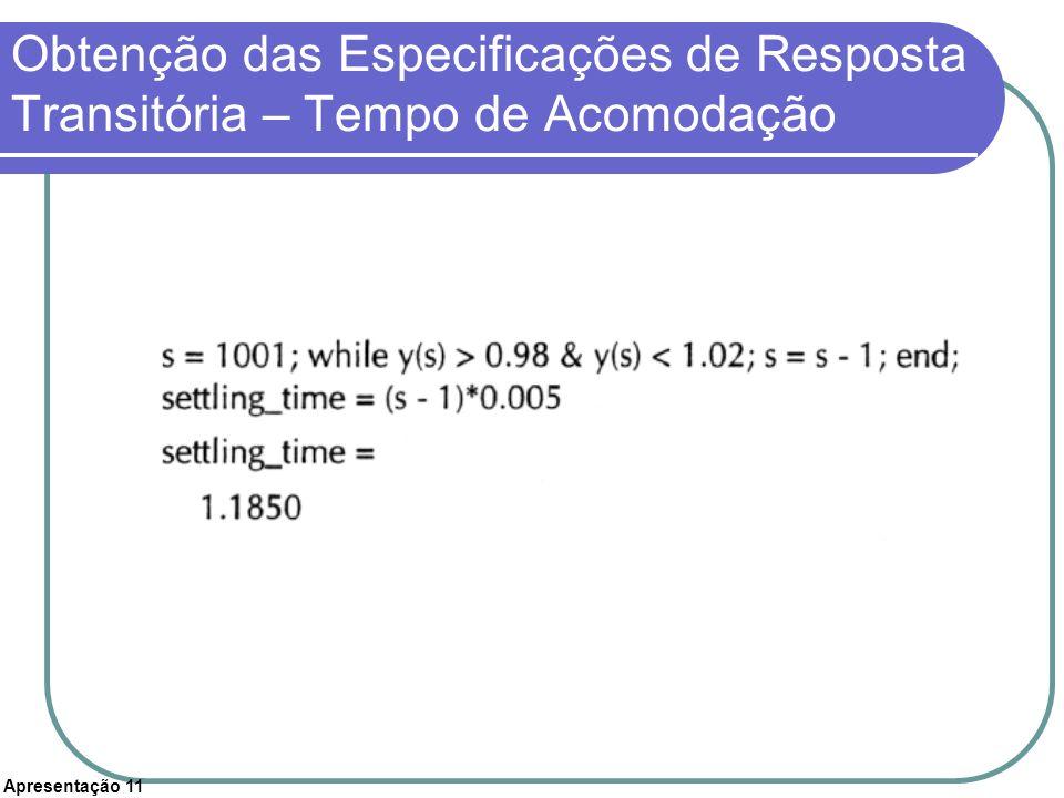 Apresentação 11 Obtenção das Especificações de Resposta Transitória – Tempo de Acomodação
