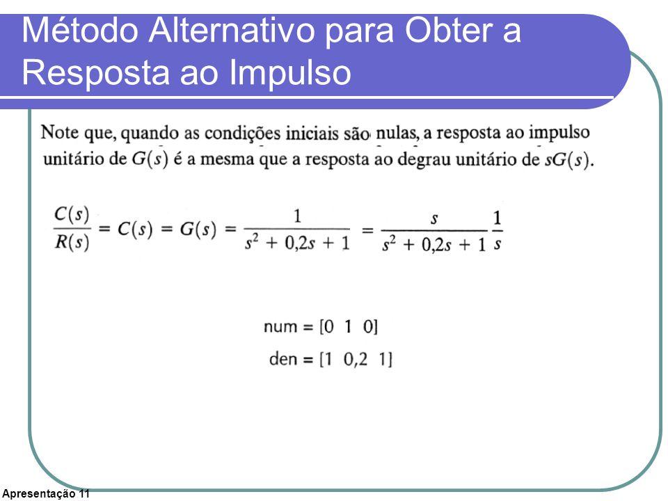 Apresentação 11 Método Alternativo para Obter a Resposta ao Impulso