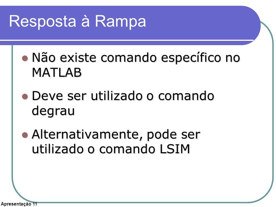 Apresentação 11 Resposta à Rampa Não existe comando específico no MATLAB Não existe comando específico no MATLAB Deve ser utilizado o comando degrau D