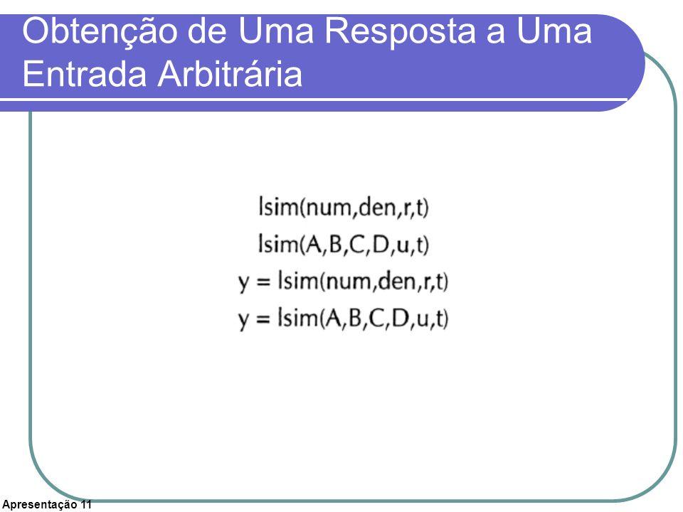 Apresentação 11 Obtenção de Uma Resposta a Uma Entrada Arbitrária