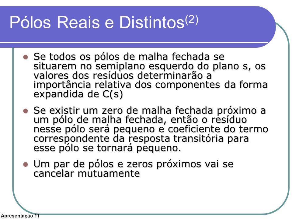 Apresentação 11 Pólos Reais e Distintos (2) Se todos os pólos de malha fechada se situarem no semiplano esquerdo do plano s, os valores dos resíduos d