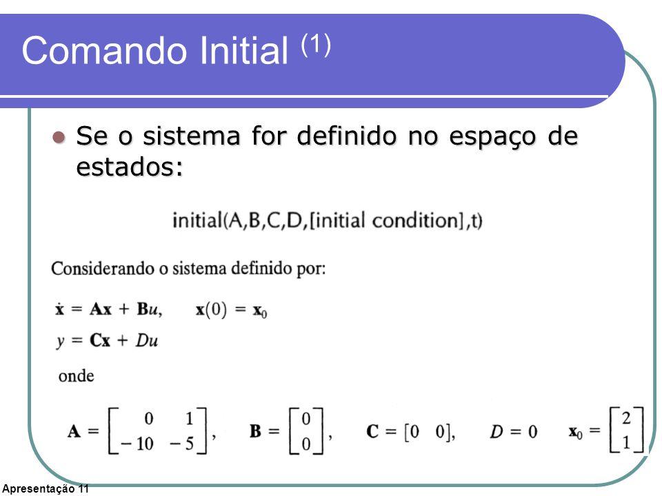 Apresentação 11 Comando Initial (1) Se o sistema for definido no espaço de estados: Se o sistema for definido no espaço de estados: