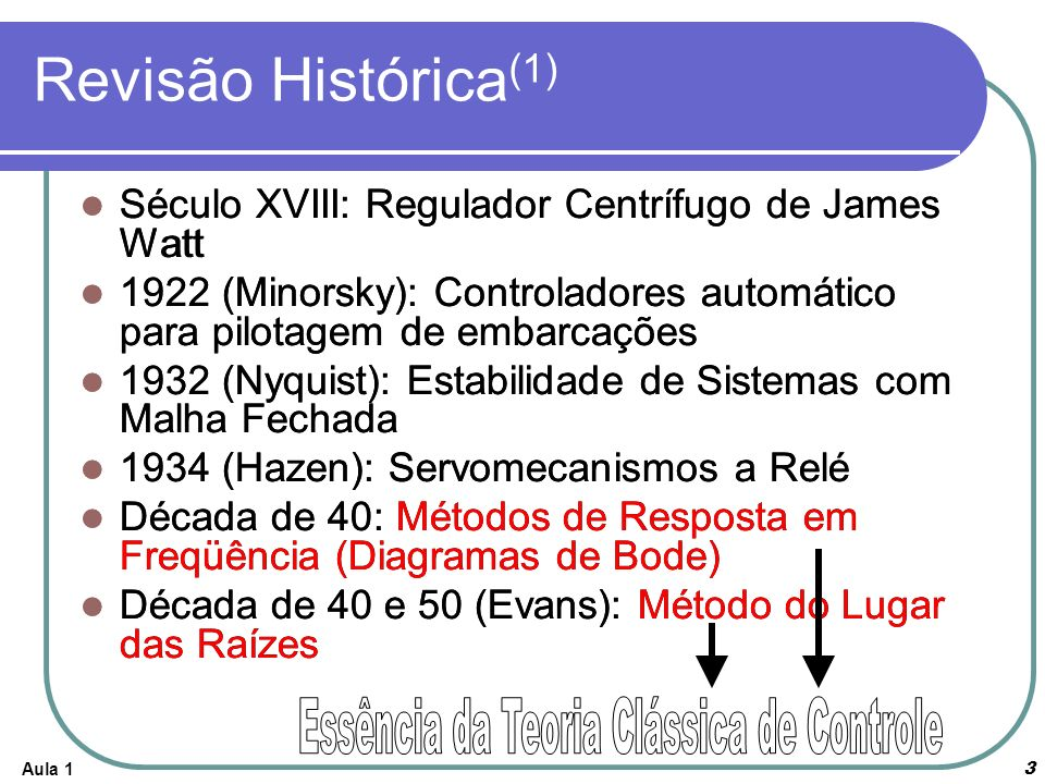 Aula 14 Revisão Histórica (2) Final da Década de 50: Projeto de Sistemas Ótimos 1960: A descrição de um sistema moderno requer um grande número de equações (várias entradas e saídas) Computadores: Análise de Sistemas complexos diretamente no domínio do tempo Variáveis de Estado 1960 a 1980: Controle Ótimo de Sistemas Determinísticos e Estocásticos, Controle Adaptativo; Técnicas de Aprendizagem 1980 até agora: Controle Robosto, Controle H Computadores Digitais passam a ser parte integrante do sistema de controle: PLC, Microcontroladores