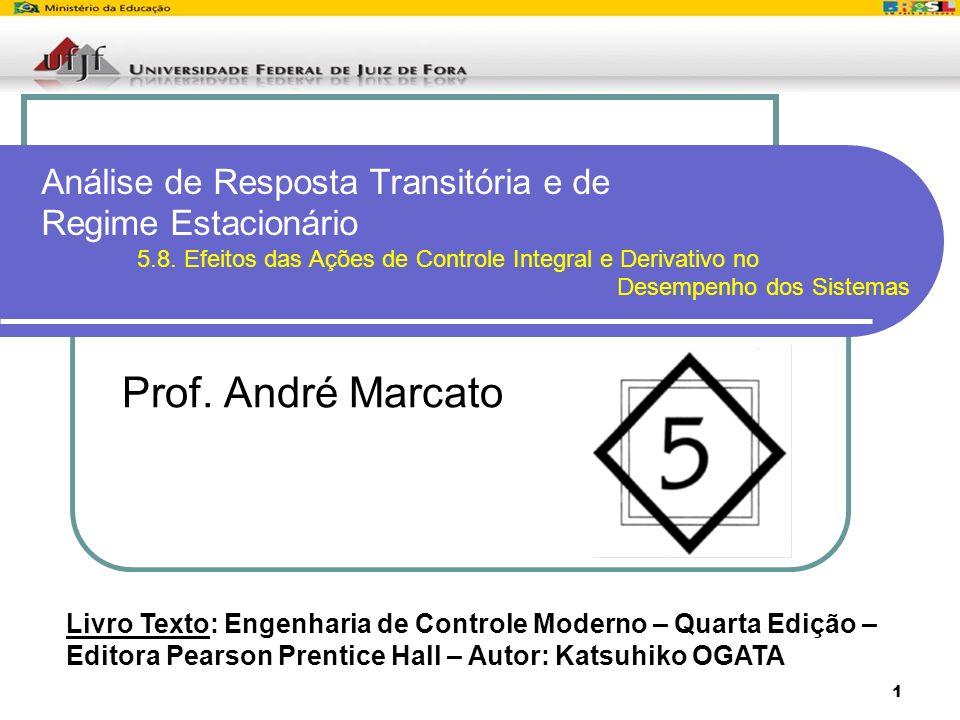1 Análise de Resposta Transitória e de Regime Estacionário 5.8. Efeitos das Ações de Controle Integral e Derivativo no Desempenho dos Sistemas Prof. A
