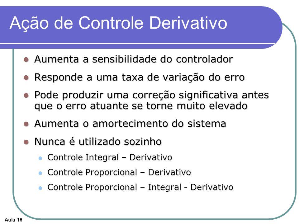 Aula 16 Ação de Controle Derivativo Aumenta a sensibilidade do controlador Aumenta a sensibilidade do controlador Responde a uma taxa de variação do erro Responde a uma taxa de variação do erro Pode produzir uma correção significativa antes que o erro atuante se torne muito elevado Pode produzir uma correção significativa antes que o erro atuante se torne muito elevado Aumenta o amortecimento do sistema Aumenta o amortecimento do sistema Nunca é utilizado sozinho Nunca é utilizado sozinho Controle Integral – Derivativo Controle Integral – Derivativo Controle Proporcional – Derivativo Controle Proporcional – Derivativo Controle Proporcional – Integral - Derivativo Controle Proporcional – Integral - Derivativo