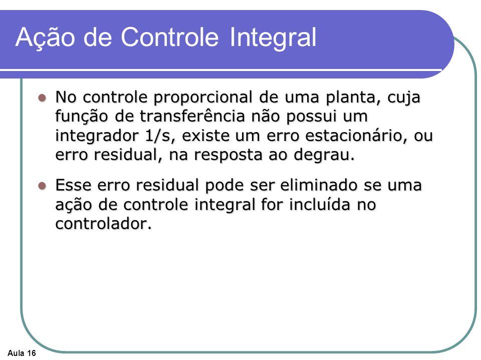 Aula 16 Ação de Controle Integral No controle proporcional de uma planta, cuja função de transferência não possui um integrador 1/s, existe um erro estacionário, ou erro residual, na resposta ao degrau.