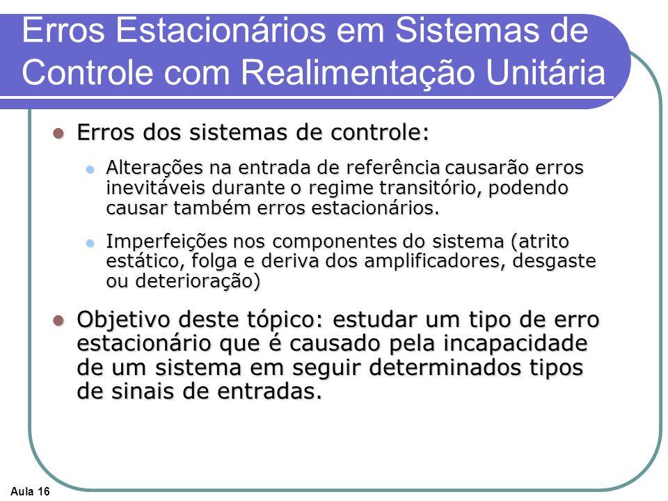 Aula 16 Erros Estacionários em Sistemas de Controle com Realimentação Unitária Erros dos sistemas de controle: Erros dos sistemas de controle: Alterações na entrada de referência causarão erros inevitáveis durante o regime transitório, podendo causar também erros estacionários.