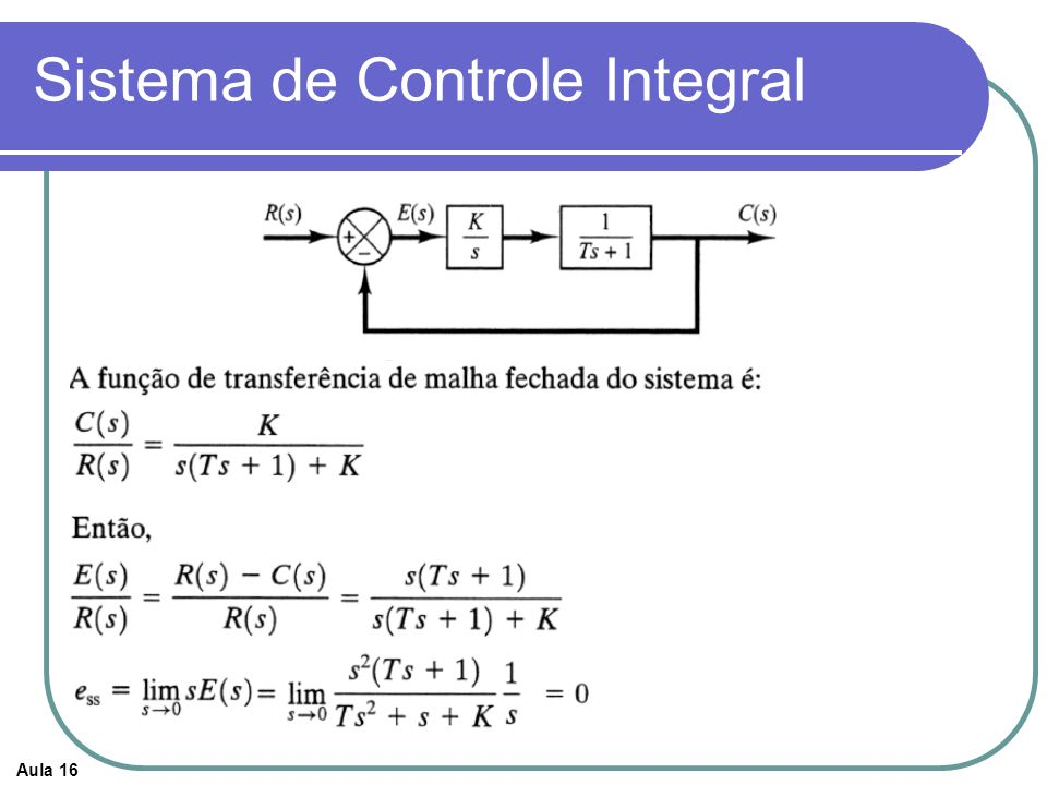 Aula 16 Sistema de Controle Integral