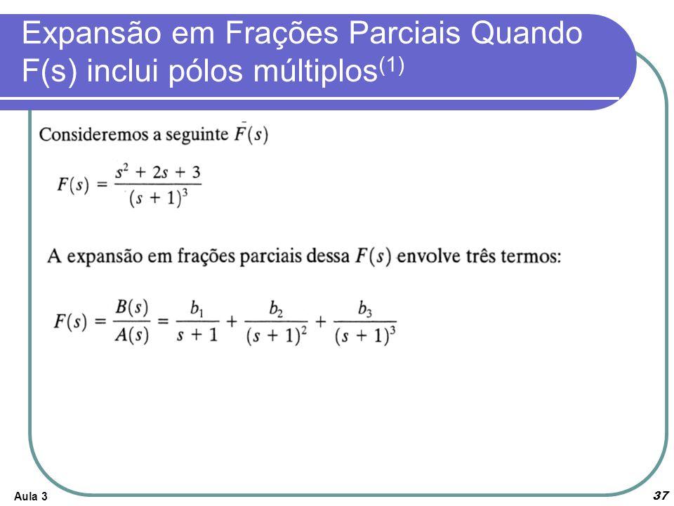 Aula 3 37 Expansão em Frações Parciais Quando F(s) inclui pólos múltiplos (1)