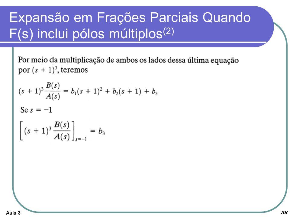 Aula 3 38 Expansão em Frações Parciais Quando F(s) inclui pólos múltiplos (2)