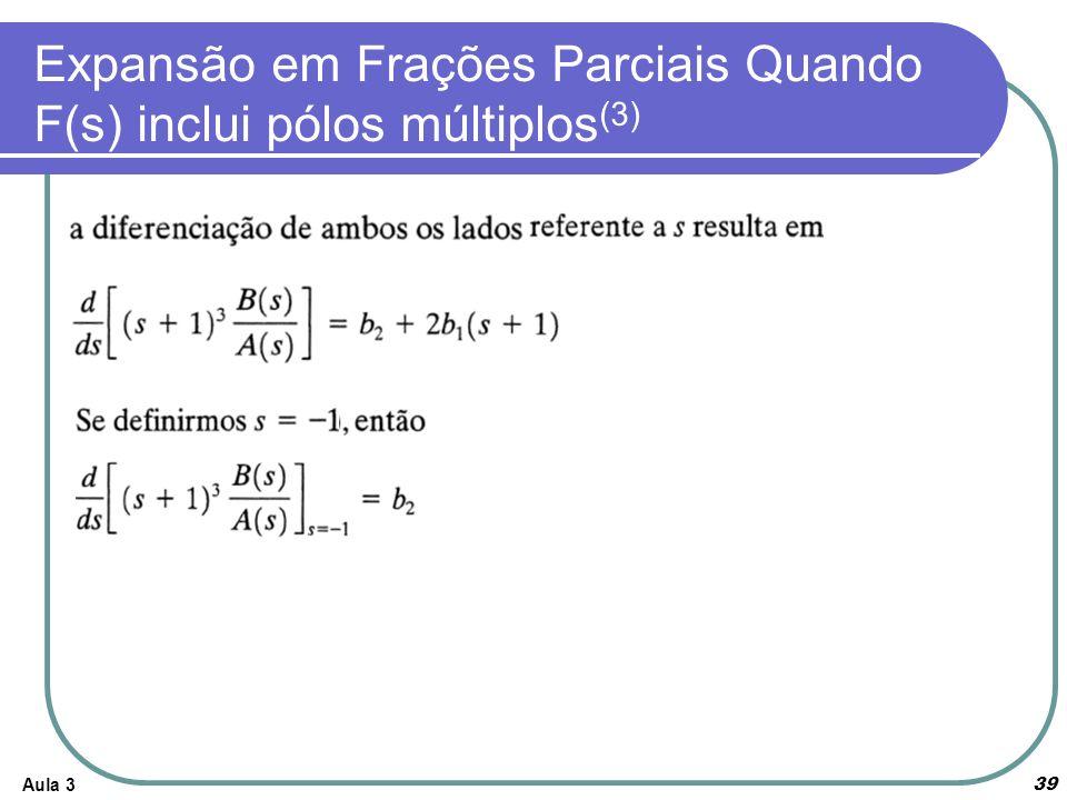 Aula 3 39 Expansão em Frações Parciais Quando F(s) inclui pólos múltiplos (3)