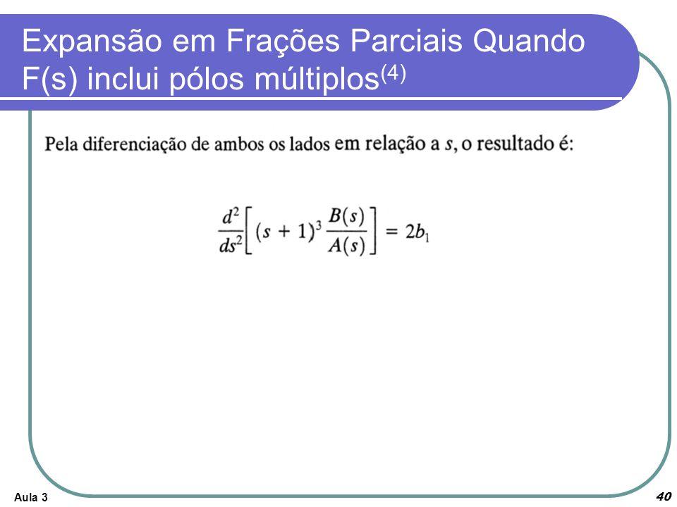Aula 3 40 Expansão em Frações Parciais Quando F(s) inclui pólos múltiplos (4)