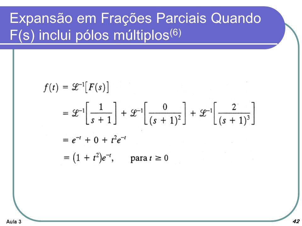 Aula 3 42 Expansão em Frações Parciais Quando F(s) inclui pólos múltiplos (6)