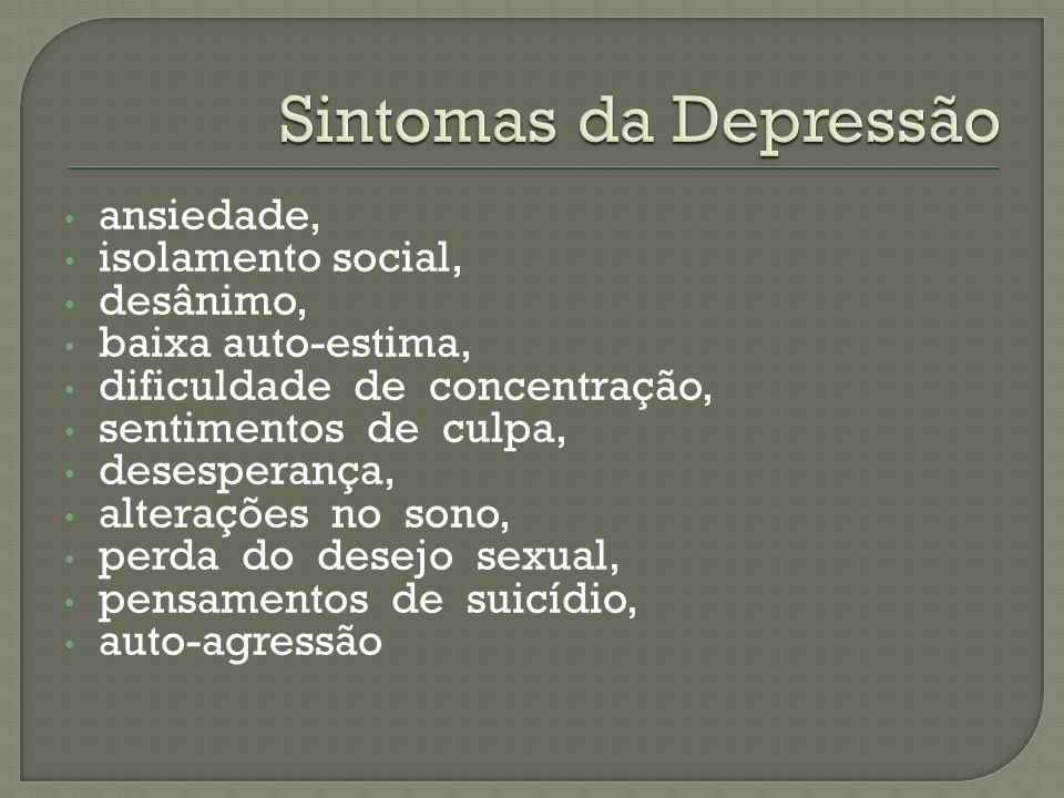ansiedade, isolamento social, desânimo, baixa auto-estima, dificuldade de concentração, sentimentos de culpa, desesperança, alterações no sono, perda