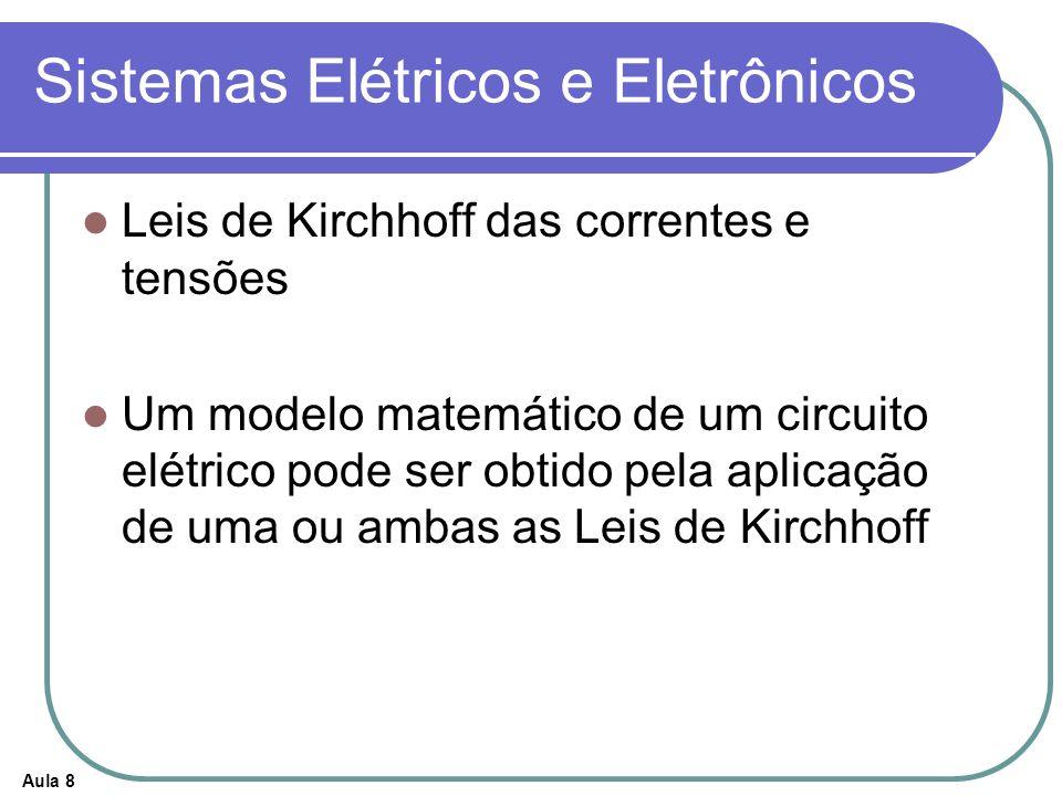 Aula 8 Sistemas Elétricos e Eletrônicos Leis de Kirchhoff das correntes e tensões Um modelo matemático de um circuito elétrico pode ser obtido pela ap