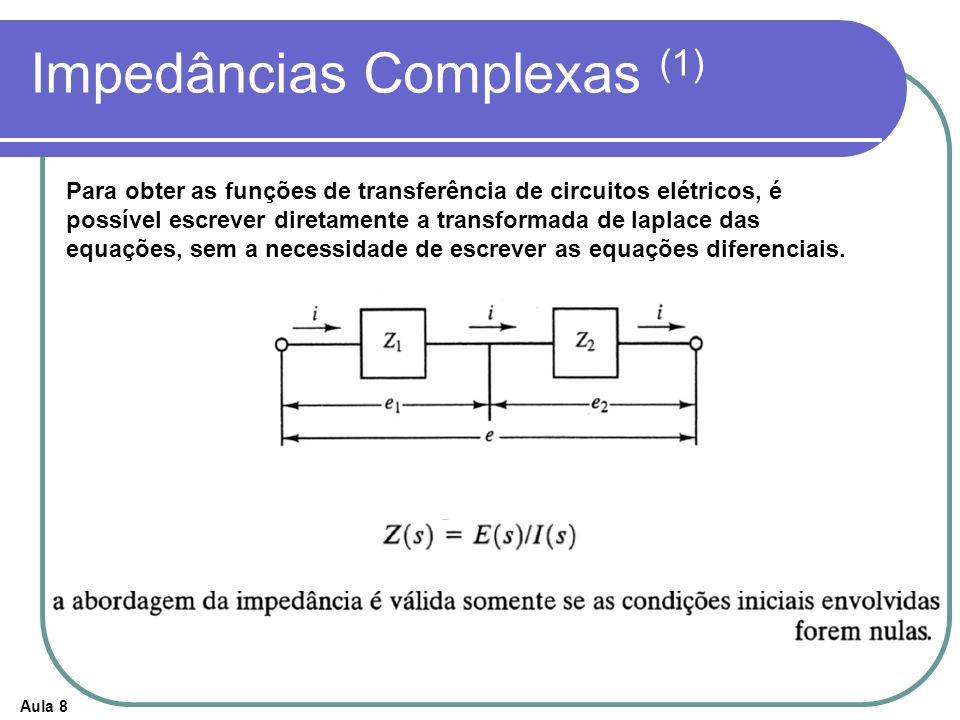 Aula 8 Impedâncias Complexas (1) Para obter as funções de transferência de circuitos elétricos, é possível escrever diretamente a transformada de lapl