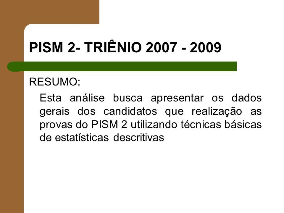 PISM 2- TRIÊNIO 2007 - 2009 RESUMO: Esta análise busca apresentar os dados gerais dos candidatos que realização as provas do PISM 2 utilizando técnica