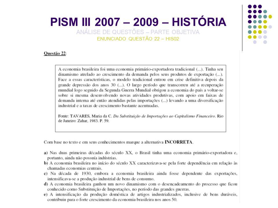 PISM III 2007 – 2009 – HISTÓRIA ANÁLISE DE QUESTÕES – PARTE OBJETIVA ENUNCIADO QUESTÃO 22 – HIS02
