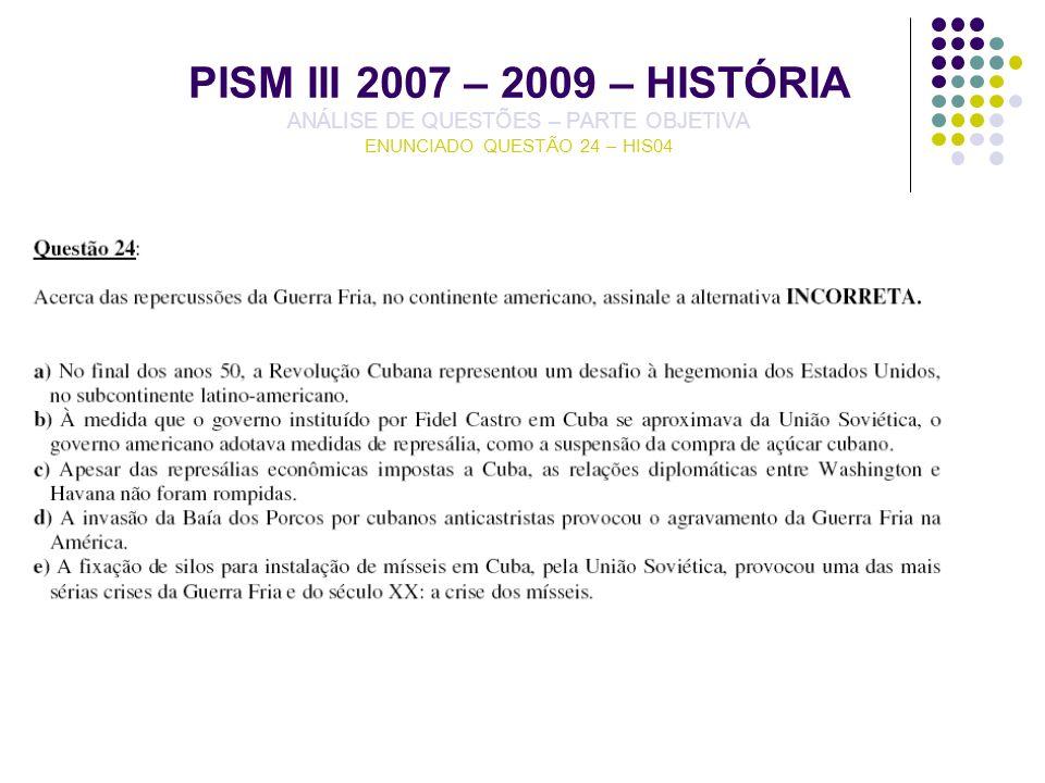 PISM III 2007 – 2009 – HISTÓRIA ANÁLISE DE QUESTÕES – PARTE OBJETIVA ENUNCIADO QUESTÃO 24 – HIS04