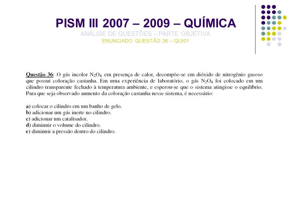 PISM III 2007 – 2009 – QUÍMICA ANÁLISE DE QUESTÕES – PARTE OBJETIVA ENUNCIADO QUESTÃO 36 – QUI01