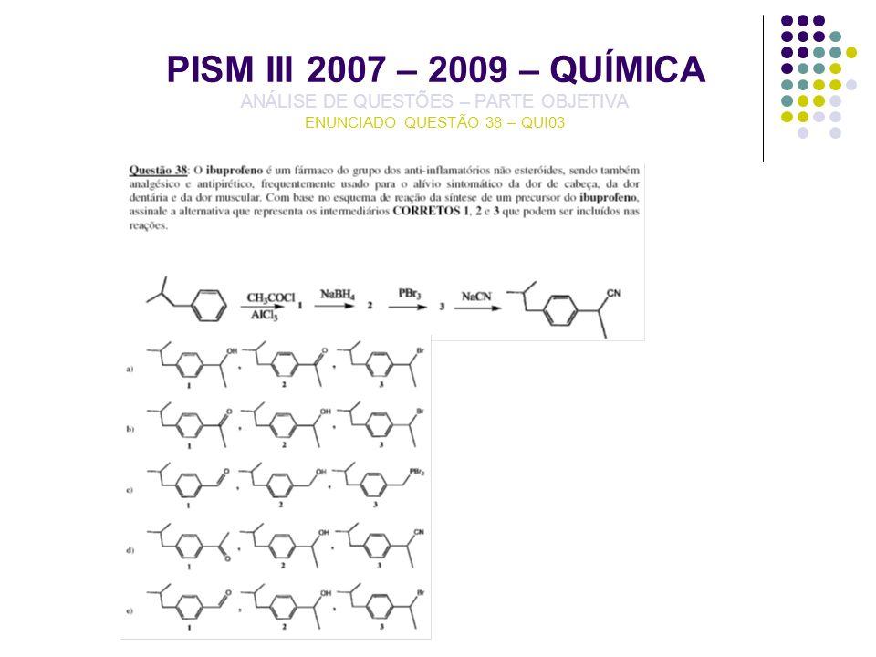 PISM III 2007 – 2009 – QUÍMICA ANÁLISE DE QUESTÕES – PARTE OBJETIVA ENUNCIADO QUESTÃO 38 – QUI03