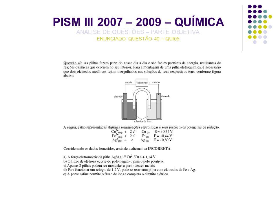 PISM III 2007 – 2009 – QUÍMICA ANÁLISE DE QUESTÕES – PARTE OBJETIVA ENUNCIADO QUESTÃO 40 – QUI05